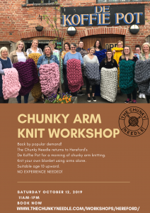 Arm Knit Workshop at De Koffie Pot October 12th